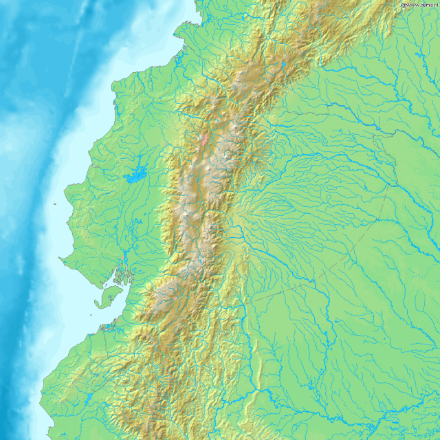 Mapa de relieve de Ecuador. Relief map of Ecuador
