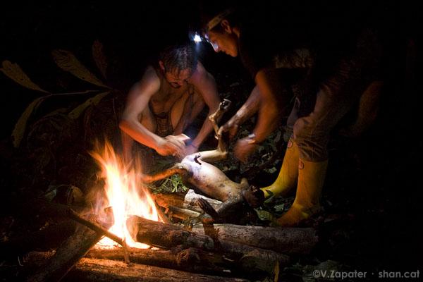 Waorani_cooking_a_monkey