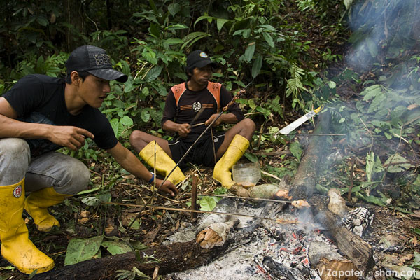 Waorani people cooking a monkey